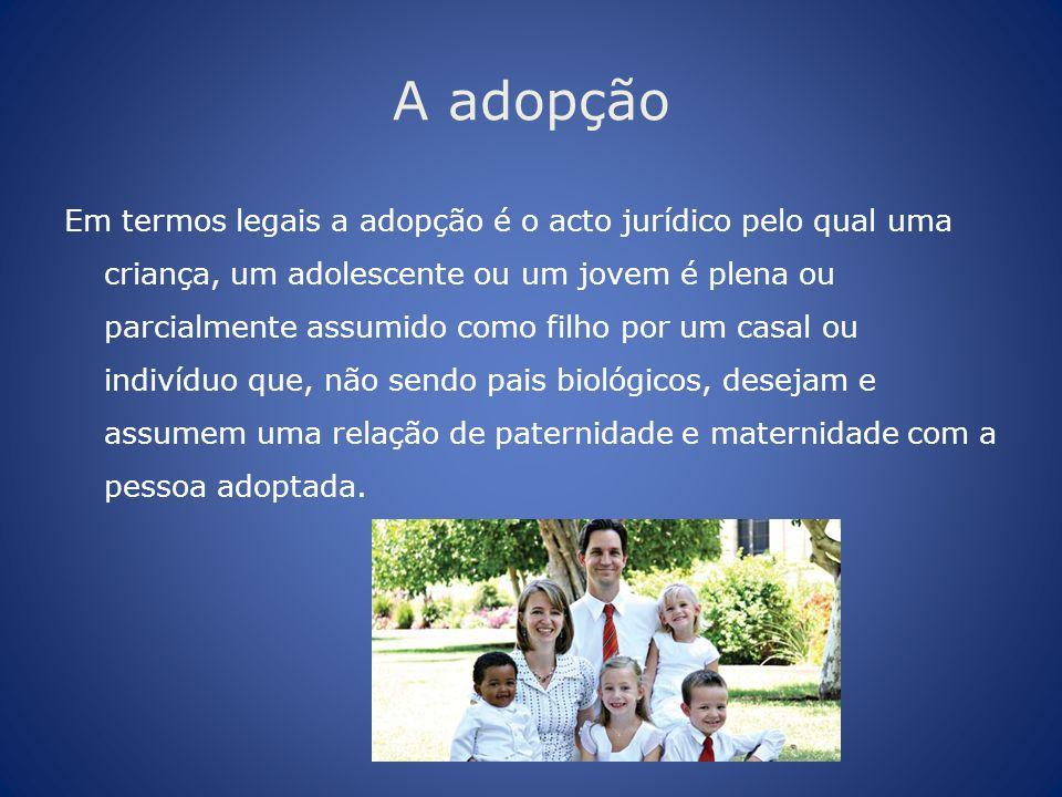 A adopção Em termos legais a adopção é o acto jurídico pelo qual uma criança, um adolescente ou um jovem é plena ou parcialmente assumido como filho p