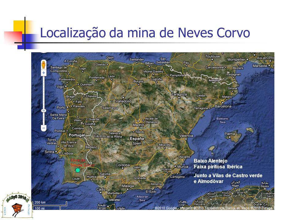 Localização da mina de Neves Corvo Mina de Neves Corvo Baixo Alentejo Faixa piritosa Ibérica Junto a Vilas de Castro verde e Almodôvar