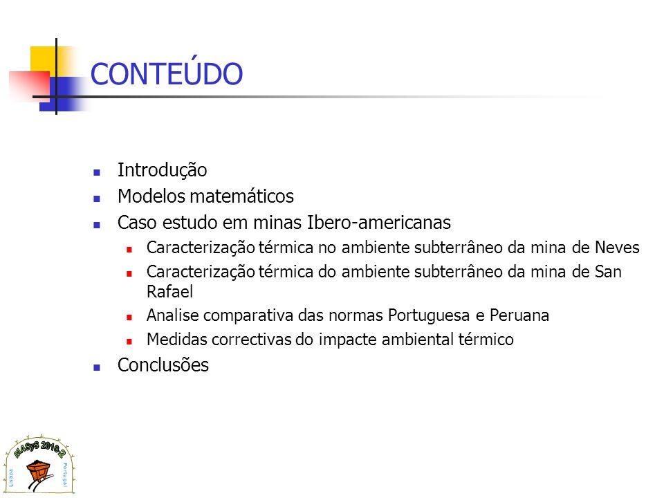 CONTEÚDO Introdução Modelos matemáticos Caso estudo em minas Ibero-americanas Caracterização térmica no ambiente subterrâneo da mina de Neves Caracter