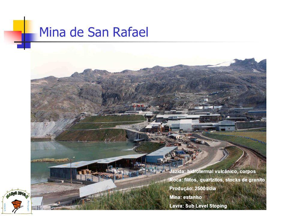 Mina de San Rafael Jazida: hidrotermal vulcânico, corpos Roca: filitos, quartzitos, stocks de granito Produção: 2500 t/dia Mina: estanho Lavra: Sub Le