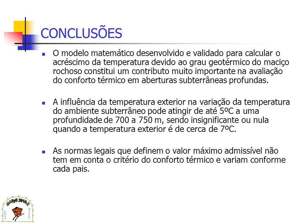 CONCLUSÕES O modelo matemático desenvolvido e validado para calcular o acréscimo da temperatura devido ao grau geotérmico do maciço rochoso constitui