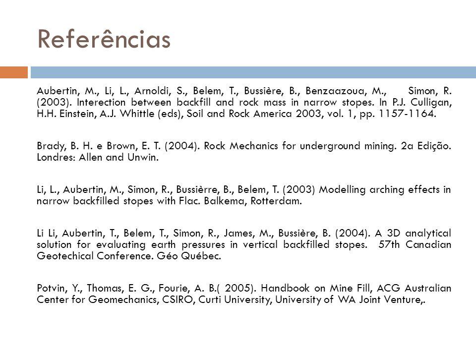 Referências Aubertin, M., Li, L., Arnoldi, S., Belem, T., Bussière, B., Benzaazoua, M., Simon, R. (2003). Interection between backfill and rock mass i