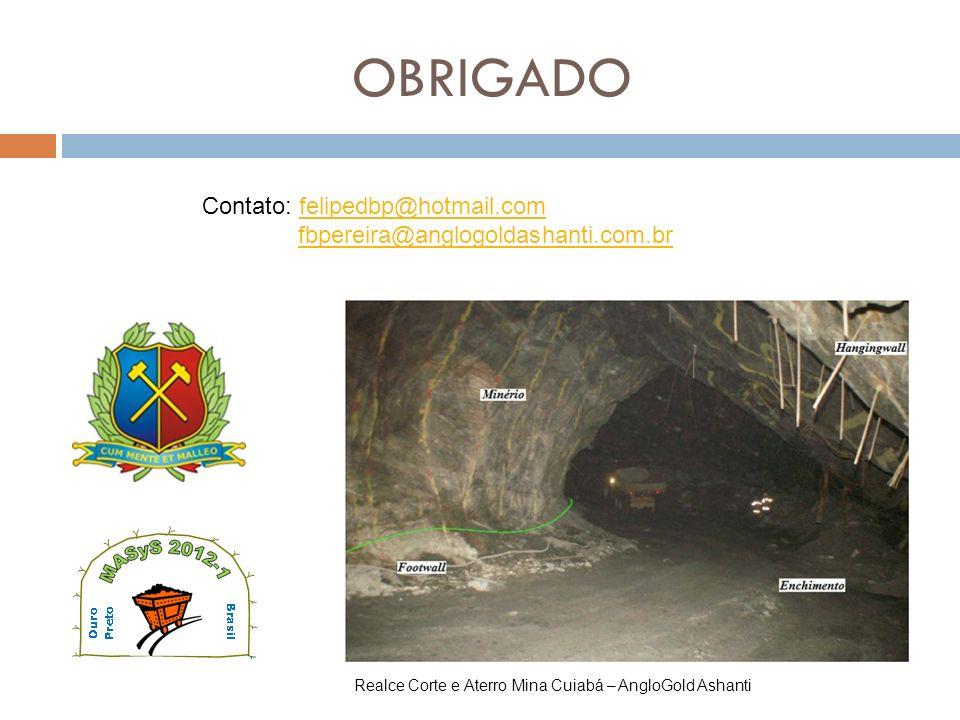 OBRIGADO Realce Corte e Aterro Mina Cuiabá – AngloGold Ashanti Contato: felipedbp@hotmail.comfelipedbp@hotmail.com fbpereira@anglogoldashanti.com.br