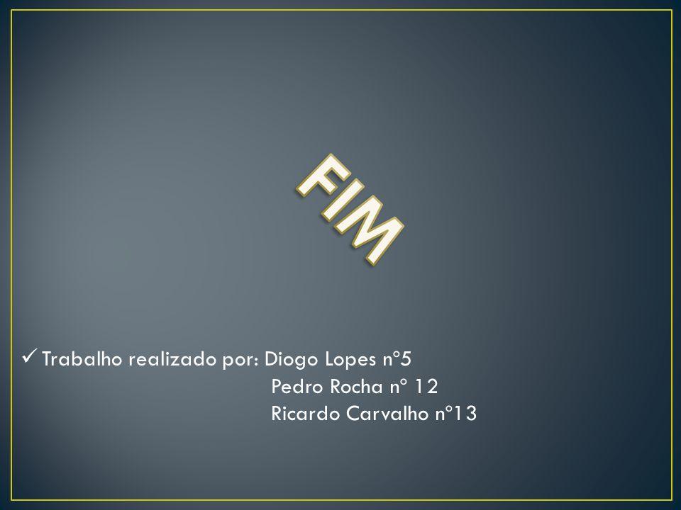 Trabalho realizado por: Diogo Lopes nº5 Pedro Rocha nº 12 Ricardo Carvalho nº13