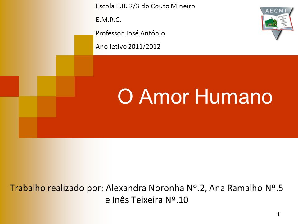 O Amor Humano Trabalho realizado por: Alexandra Noronha Nº.2, Ana Ramalho Nº.5 e Inês Teixeira Nº.10 Escola E.B. 2/3 do Couto Mineiro E.M.R.C. Profess