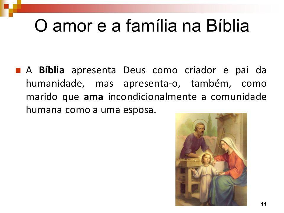 O amor e a família na Bíblia A Bíblia apresenta Deus como criador e pai da humanidade, mas apresenta-o, também, como marido que ama incondicionalmente a comunidade humana como a uma esposa.