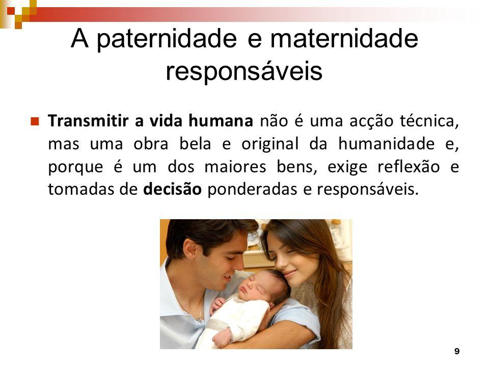 A paternidade e maternidade responsáveis Transmitir a vida humana não é uma acção técnica, mas uma obra bela e original da humanidade e, porque é um d
