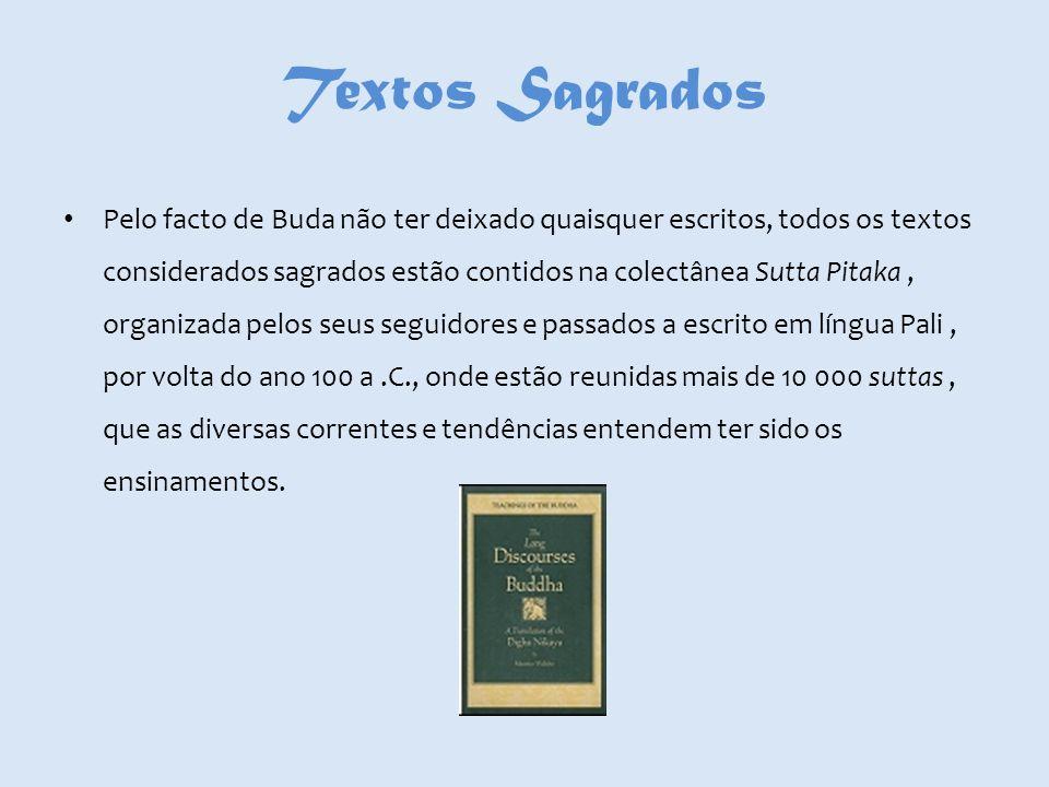 Textos Sagrados Pelo facto de Buda não ter deixado quaisquer escritos, todos os textos considerados sagrados estão contidos na colectânea Sutta Pitaka