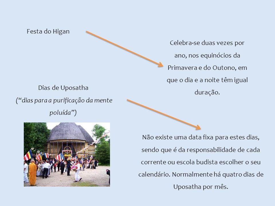 Festa do Higan Celebra-se duas vezes por ano, nos equinócios da Primavera e do Outono, em que o dia e a noite têm igual duração. Dias de Uposatha (dia