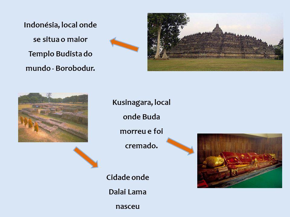 Indonésia, local onde se situa o maior Templo Budista do mundo - Borobodur. Cidade onde Dalai Lama nasceu Kusinagara, local onde Buda morreu e foi cre