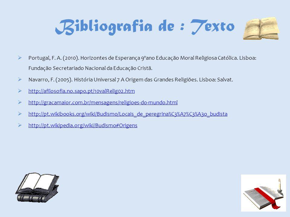 Bibliografia de : Texto Portugal, F. A. (2010). Horizontes de Esperança 9ºano Educação Moral Religiosa Católica. Lisboa: Fundação Secretariado Naciona