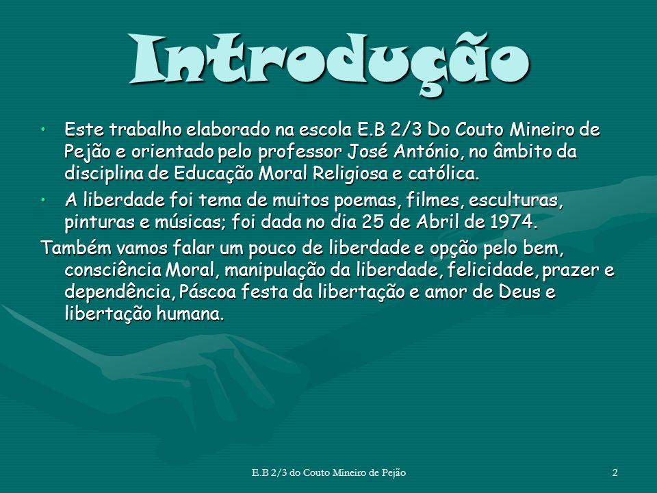 A Liberdade na Arte E.B 2/3 do Couto Mineiro de Pejão Todo o ser humano tem direito à liberdade, uns mais que outros.
