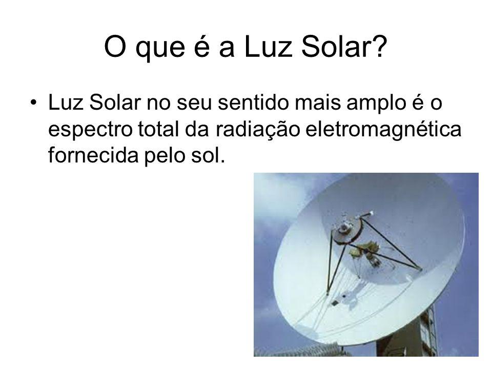 O que é a Luz Solar? Luz Solar no seu sentido mais amplo é o espectro total da radiação eletromagnética fornecida pelo sol.