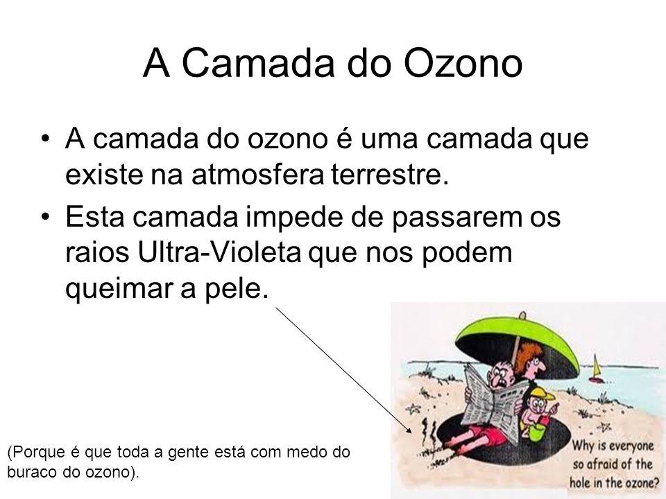 A Camada do Ozono A camada do ozono é uma camada que existe na atmosfera terrestre. Esta camada impede de passarem os raios Ultra-Violeta que nos pode
