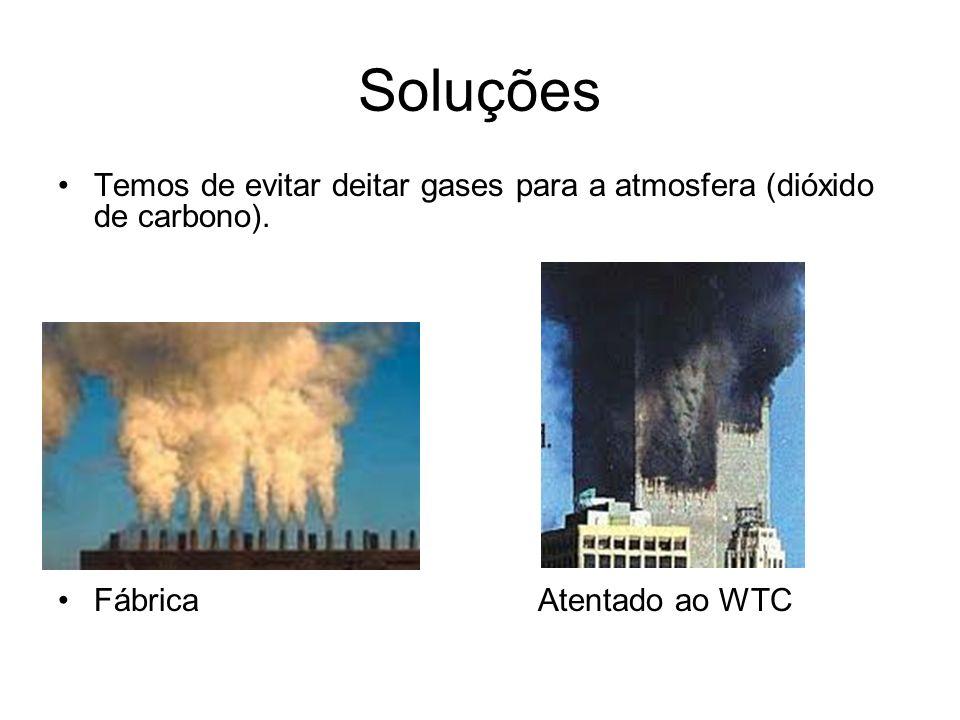 Soluções Temos de evitar deitar gases para a atmosfera (dióxido de carbono). FábricaAtentado ao WTC