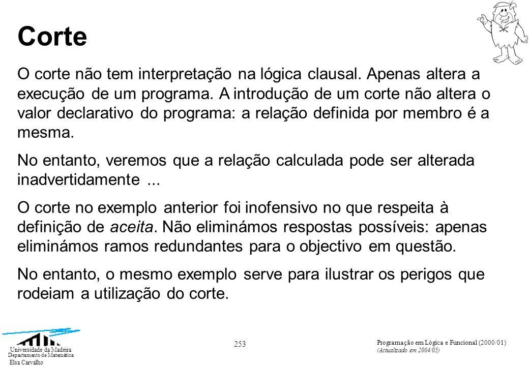 Elsa Carvalho 253 Universidade da Madeira Departamento de Matemática Programação em Lógica e Funcional (2000/01) (Actualizado em 2004/05) Corte O corte não tem interpretação na lógica clausal.