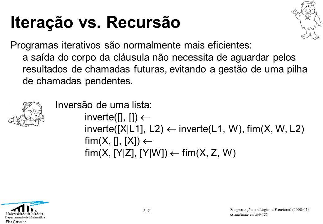 Elsa Carvalho 258 Universidade da Madeira Departamento de Matemática Programação em Lógica e Funcional (2000/01) (Actualizado em 2004/05) Iteração vs.