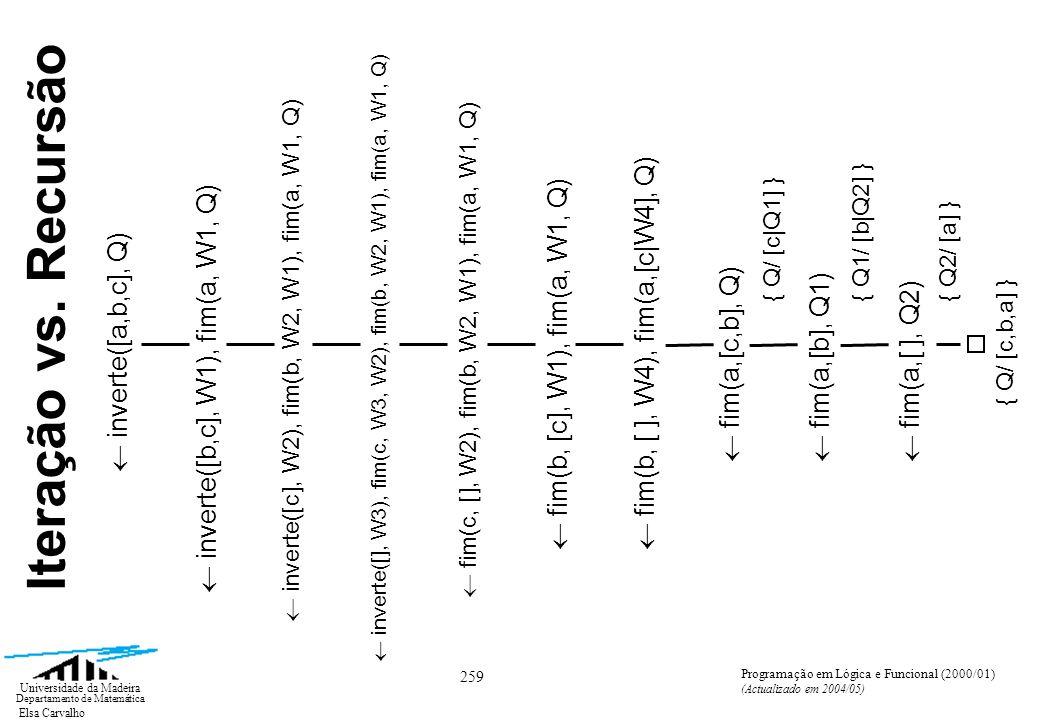 Elsa Carvalho 259 Universidade da Madeira Departamento de Matemática Programação em Lógica e Funcional (2000/01) (Actualizado em 2004/05) inverte([a,b,c], Q) Iteração vs.