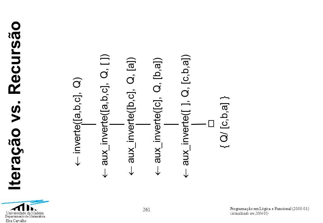 Elsa Carvalho 261 Universidade da Madeira Departamento de Matemática Programação em Lógica e Funcional (2000/01) (Actualizado em 2004/05) inverte([a,b,c], Q) aux_inverte([a,b,c], Q, [ ]) aux_inverte([b,c], Q, [a]) aux_inverte([c], Q, [b,a]) aux_inverte([ ], Q, [c,b,a]) { Q/ [c,b,a] } Iteração vs.