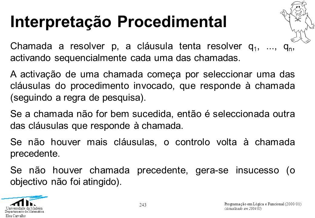 Elsa Carvalho 243 Universidade da Madeira Departamento de Matemática Programação em Lógica e Funcional (2000/01) (Actualizado em 2004/05) Interpretação Procedimental Chamada a resolver p, a cláusula tenta resolver q 1,..., q n, activando sequencialmente cada uma das chamadas.