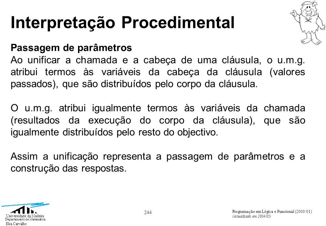 Elsa Carvalho 255 Universidade da Madeira Departamento de Matemática Programação em Lógica e Funcional (2000/01) (Actualizado em 2004/05) Corte O corte introduz incompletude e situações aberrantes que põem em cheque o valor declarativo do programa.