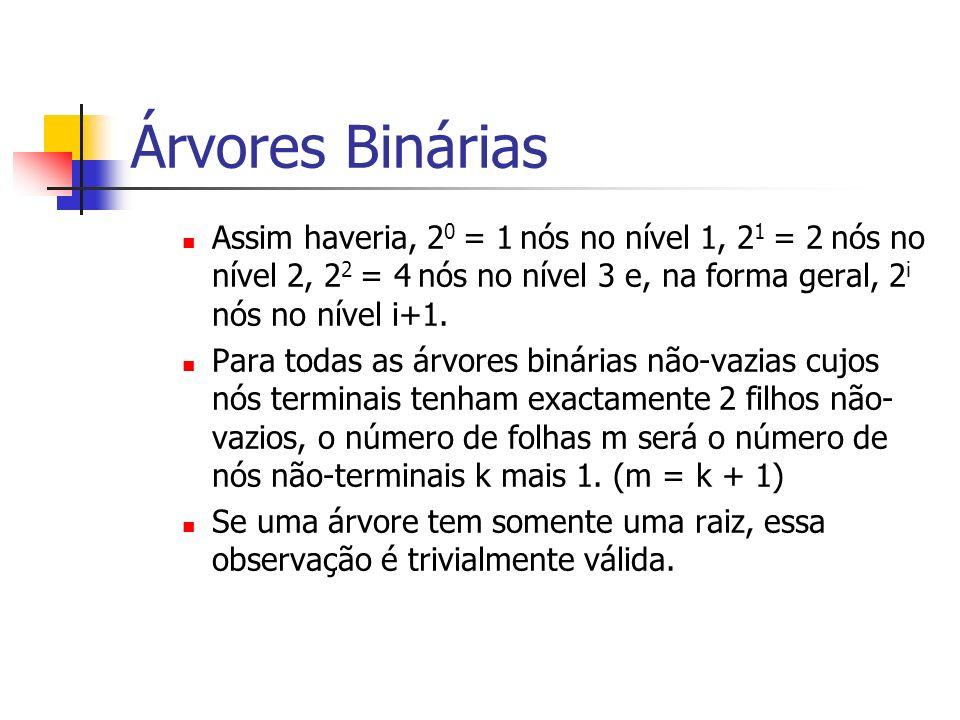 Árvores Binárias Assim haveria, 2 0 = 1 nós no nível 1, 2 1 = 2 nós no nível 2, 2 2 = 4 nós no nível 3 e, na forma geral, 2 i nós no nível i+1. Para t