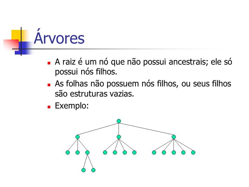 Árvores A raiz é um nó que não possui ancestrais; ele só possui nós filhos. As folhas não possuem nós filhos, ou seus filhos são estruturas vazias. Ex