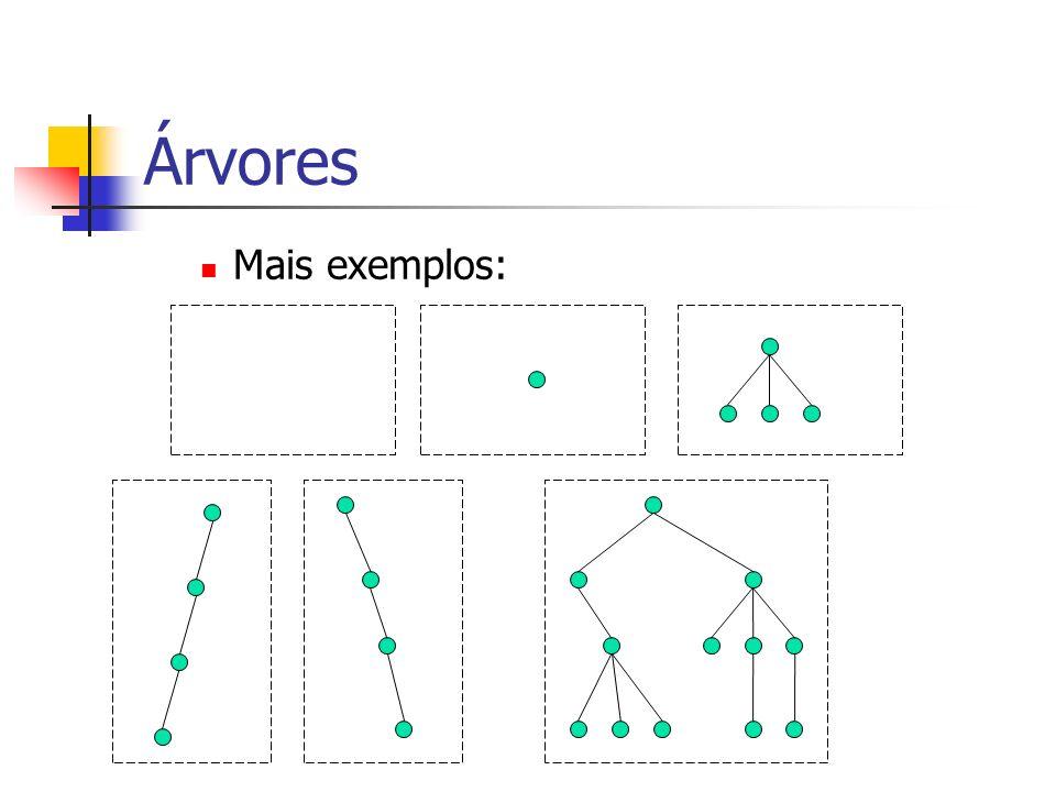 Árvores Binárias Assim haveria, 2 0 = 1 nós no nível 1, 2 1 = 2 nós no nível 2, 2 2 = 4 nós no nível 3 e, na forma geral, 2 i nós no nível i+1.