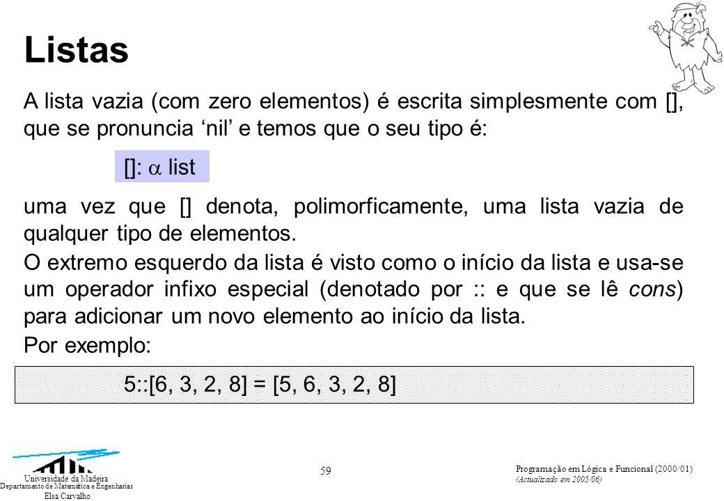 Elsa Carvalho 59 Universidade da Madeira Departamento de Matemática e Engenharias Programação em Lógica e Funcional (2000/01) (Actualizado em 2005/06) Listas A lista vazia (com zero elementos) é escrita simplesmente com [], que se pronuncia nil e temos que o seu tipo é: []: list uma vez que [] denota, polimorficamente, uma lista vazia de qualquer tipo de elementos.