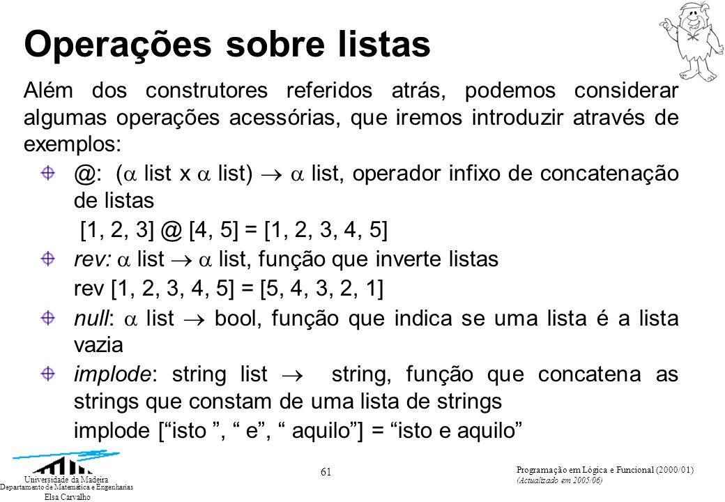 Elsa Carvalho 61 Universidade da Madeira Departamento de Matemática e Engenharias Programação em Lógica e Funcional (2000/01) (Actualizado em 2005/06)