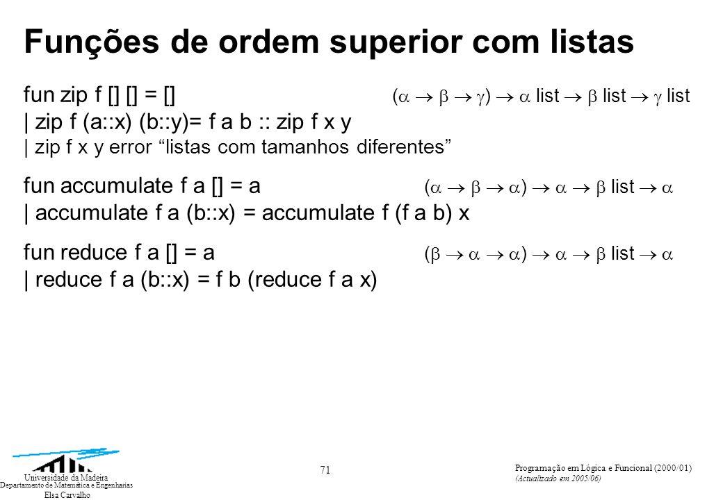 Elsa Carvalho 71 Universidade da Madeira Departamento de Matemática e Engenharias Programação em Lógica e Funcional (2000/01) (Actualizado em 2005/06) Funções de ordem superior com listas fun zip f [] [] = [] ( ) list list list | zip f (a::x) (b::y)= f a b :: zip f x y | zip f x y error listas com tamanhos diferentes fun accumulate f a [] = a ( ) list | accumulate f a (b::x) = accumulate f (f a b) x fun reduce f a [] = a ( ) list | reduce f a (b::x) = f b (reduce f a x)