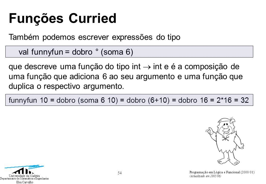 Elsa Carvalho 54 Universidade da Madeira Departamento de Matemática e Engenharias Programação em Lógica e Funcional (2000/01) (Actualizado em 2005/06)