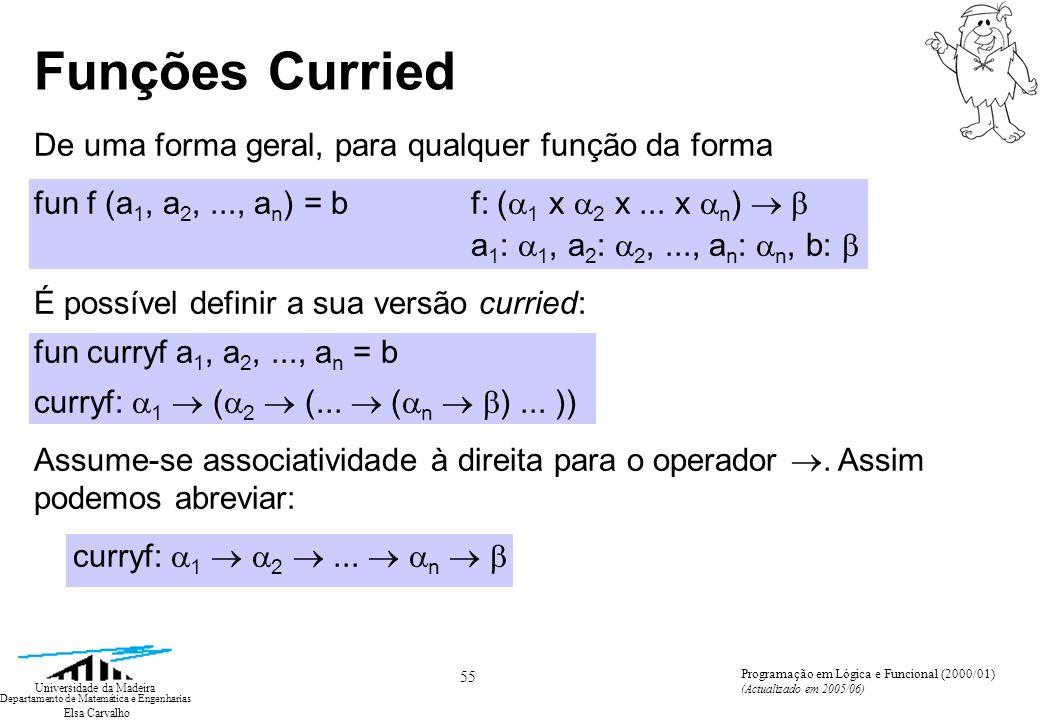 Elsa Carvalho 55 Universidade da Madeira Departamento de Matemática e Engenharias Programação em Lógica e Funcional (2000/01) (Actualizado em 2005/06) Funções Curried De uma forma geral, para qualquer função da forma fun f (a 1, a 2,..., a n ) = b f: ( 1 x 2 x...