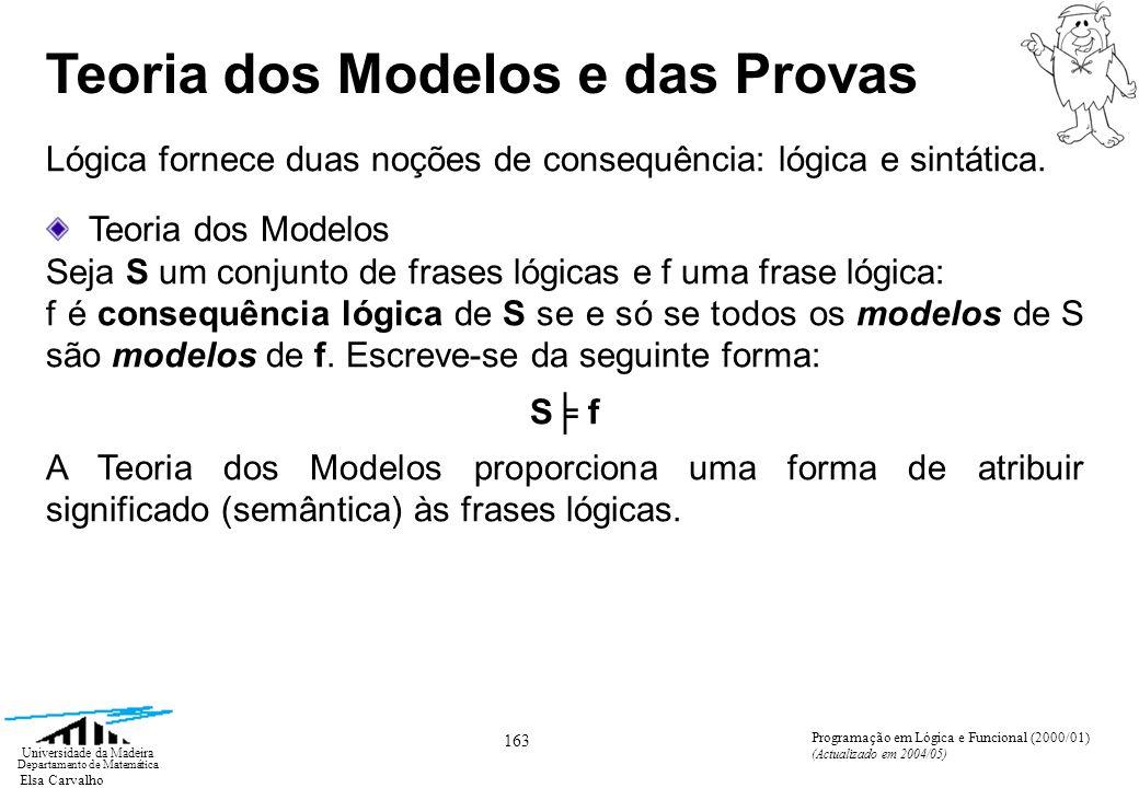 Elsa Carvalho 163 Universidade da Madeira Departamento de Matemática Programação em Lógica e Funcional (2000/01) (Actualizado em 2004/05) Teoria dos Modelos e das Provas Lógica fornece duas noções de consequência: lógica e sintática.