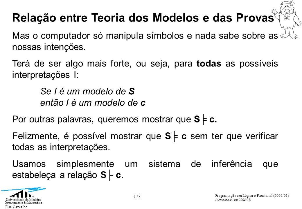 Elsa Carvalho 173 Universidade da Madeira Departamento de Matemática Programação em Lógica e Funcional (2000/01) (Actualizado em 2004/05) Mas o computador só manipula símbolos e nada sabe sobre as nossas intenções.
