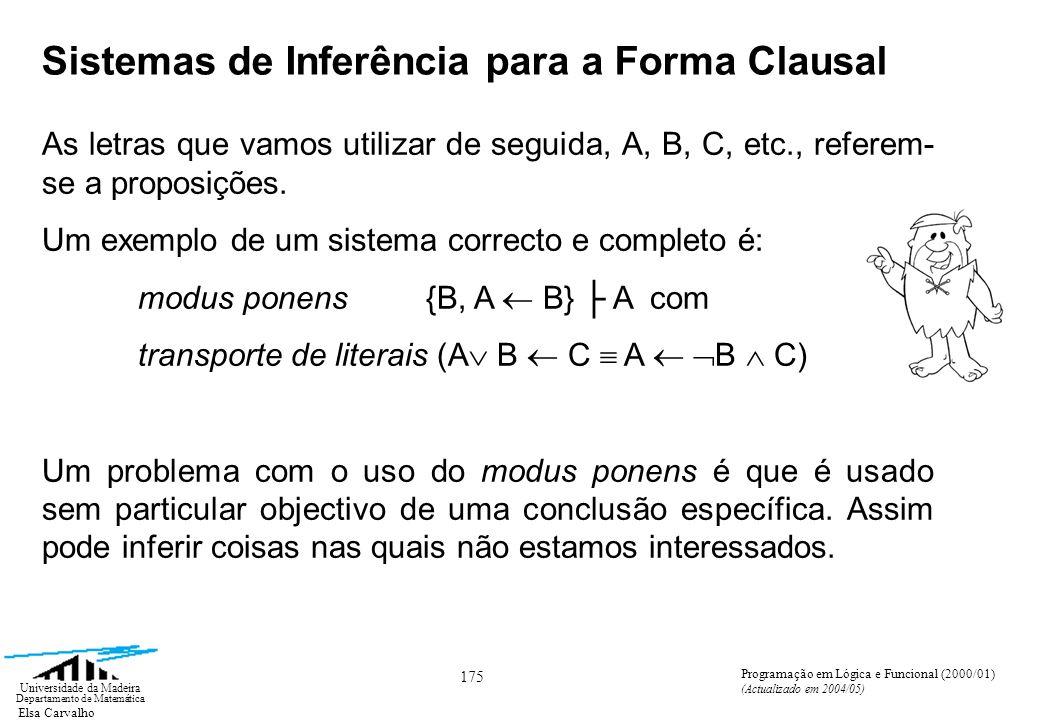 Elsa Carvalho 175 Universidade da Madeira Departamento de Matemática Programação em Lógica e Funcional (2000/01) (Actualizado em 2004/05) Sistemas de Inferência para a Forma Clausal As letras que vamos utilizar de seguida, A, B, C, etc., referem- se a proposições.