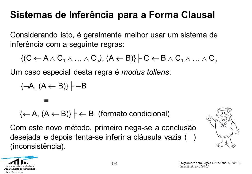 Elsa Carvalho 176 Universidade da Madeira Departamento de Matemática Programação em Lógica e Funcional (2000/01) (Actualizado em 2004/05) Sistemas de Inferência para a Forma Clausal Considerando isto, é geralmente melhor usar um sistema de inferência com a seguinte regras: {(C A C 1 … C n ), (A B)} C B C 1 … C n Um caso especial desta regra é modus tollens: { A, (A B)} B { A, (A B)} B (formato condicional) Com este novo método, primeiro nega-se a conclusão desejada e depois tenta-se inferir a cláusula vazia ( ) (inconsistência).