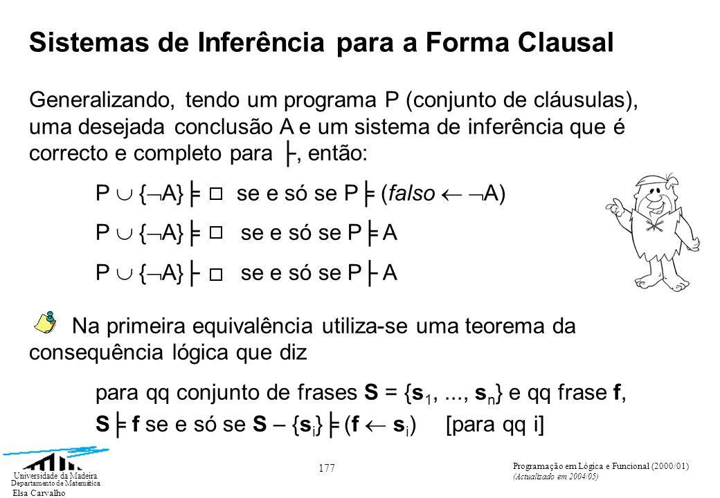 Elsa Carvalho 177 Universidade da Madeira Departamento de Matemática Programação em Lógica e Funcional (2000/01) (Actualizado em 2004/05) Sistemas de Inferência para a Forma Clausal Generalizando, tendo um programa P (conjunto de cláusulas), uma desejada conclusão A e um sistema de inferência que é correcto e completo para, então: P { A} se e só se P (falso A) P { A} se e só se P A Na primeira equivalência utiliza-se uma teorema da consequência lógica que diz para qq conjunto de frases S = {s 1,..., s n } e qq frase f, S f se e só se S – {s i } (f s i ) [para qq i]