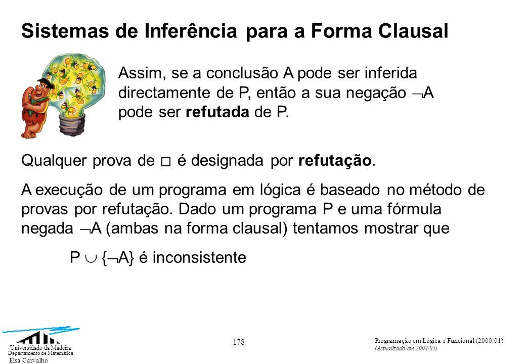 Elsa Carvalho 178 Universidade da Madeira Departamento de Matemática Programação em Lógica e Funcional (2000/01) (Actualizado em 2004/05) Assim, se a conclusão A pode ser inferida directamente de P, então a sua negação A pode ser refutada de P.