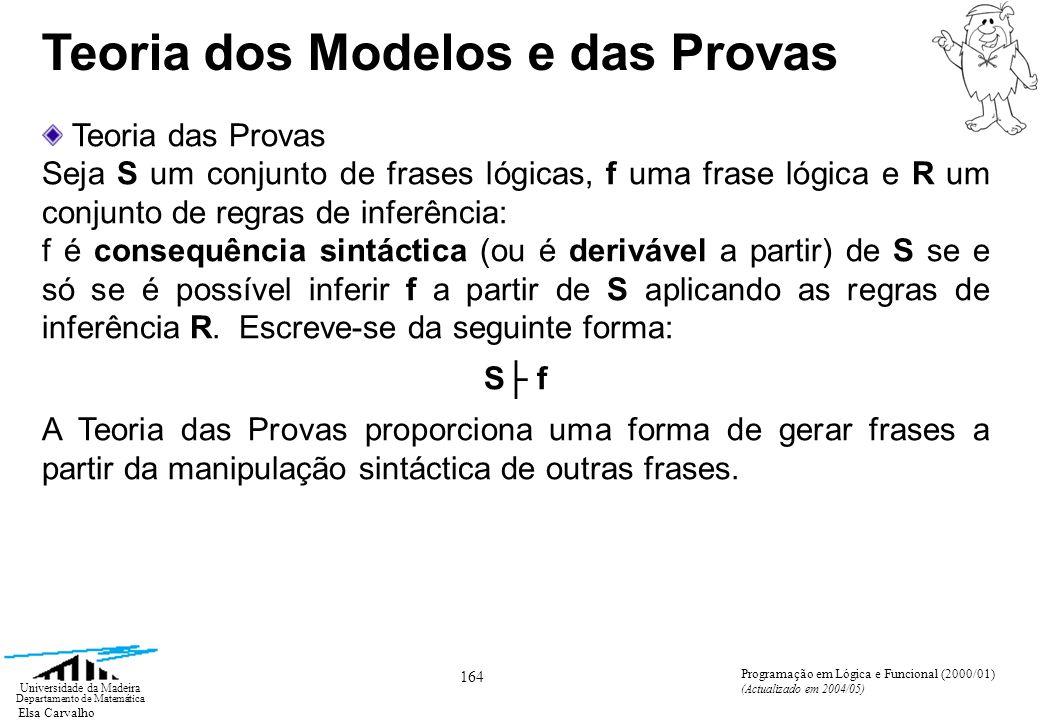 Elsa Carvalho 164 Universidade da Madeira Departamento de Matemática Programação em Lógica e Funcional (2000/01) (Actualizado em 2004/05) Teoria dos Modelos e das Provas Teoria das Provas Seja S um conjunto de frases lógicas, f uma frase lógica e R um conjunto de regras de inferência: f é consequência sintáctica (ou é derivável a partir) de S se e só se é possível inferir f a partir de S aplicando as regras de inferência R.