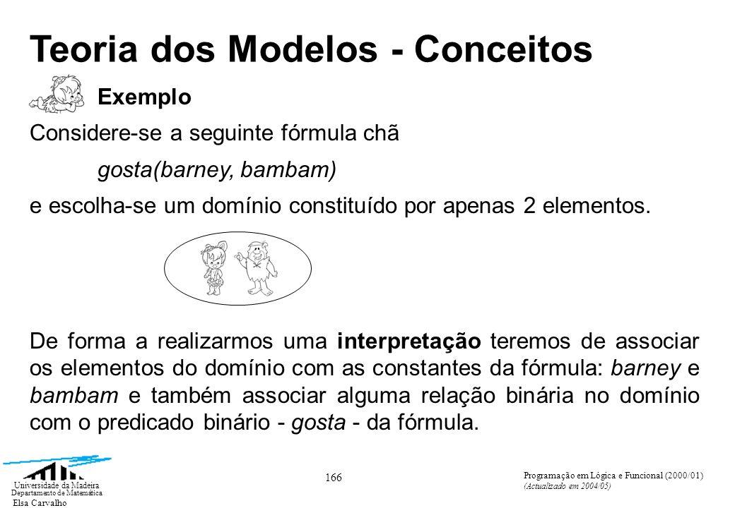 Elsa Carvalho 166 Universidade da Madeira Departamento de Matemática Programação em Lógica e Funcional (2000/01) (Actualizado em 2004/05) Teoria dos Modelos - Conceitos Exemplo Considere-se a seguinte fórmula chã gosta(barney, bambam) e escolha-se um domínio constituído por apenas 2 elementos.