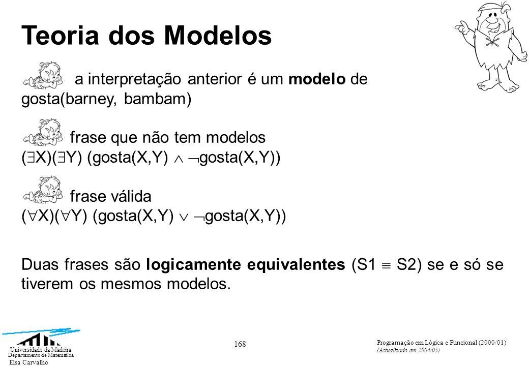 Elsa Carvalho 168 Universidade da Madeira Departamento de Matemática Programação em Lógica e Funcional (2000/01) (Actualizado em 2004/05) Teoria dos Modelos a interpretação anterior é um modelo de gosta(barney, bambam) frase que não tem modelos ( X)( Y) (gosta(X,Y) gosta(X,Y)) frase válida ( X)( Y) (gosta(X,Y) gosta(X,Y)) Duas frases são logicamente equivalentes (S1 S2) se e só se tiverem os mesmos modelos.