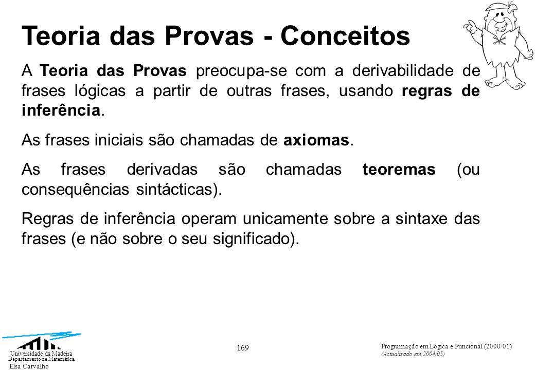 Elsa Carvalho 169 Universidade da Madeira Departamento de Matemática Programação em Lógica e Funcional (2000/01) (Actualizado em 2004/05) Teoria das Provas - Conceitos A Teoria das Provas preocupa-se com a derivabilidade de frases lógicas a partir de outras frases, usando regras de inferência.