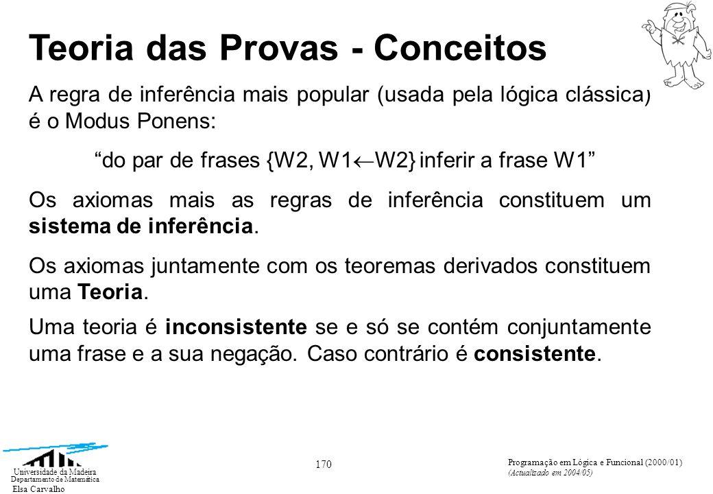 Elsa Carvalho 170 Universidade da Madeira Departamento de Matemática Programação em Lógica e Funcional (2000/01) (Actualizado em 2004/05) Teoria das Provas - Conceitos A regra de inferência mais popular (usada pela lógica clássica) é o Modus Ponens: do par de frases {W2, W1 W2} inferir a frase W1 Os axiomas mais as regras de inferência constituem um sistema de inferência.