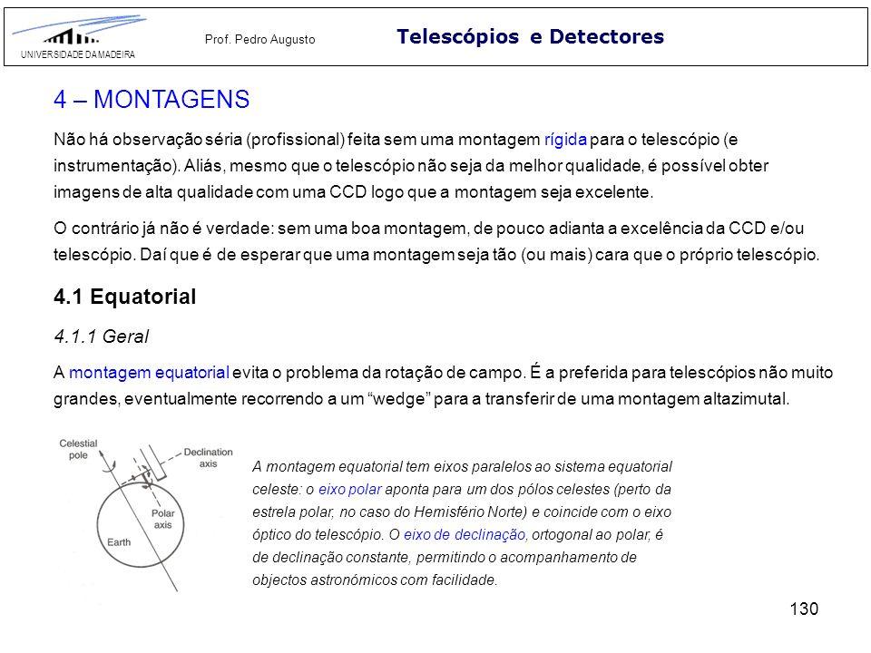 130 Telescópios e Detectores UNIVERSIDADE DA MADEIRA Prof. Pedro Augusto 4 – MONTAGENS Não há observação séria (profissional) feita sem uma montagem r