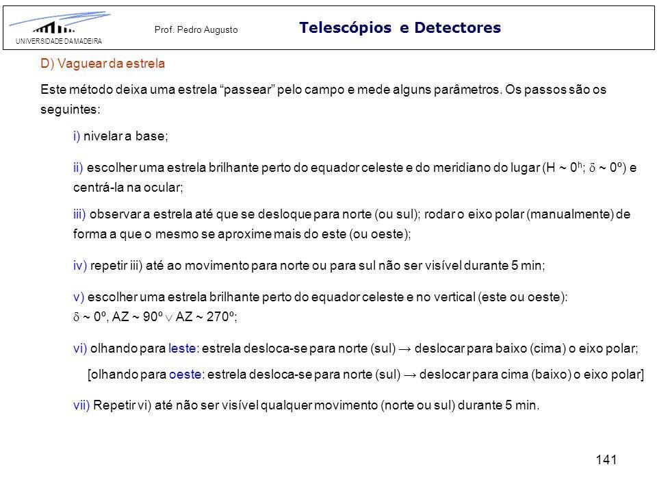 141 Telescópios e Detectores UNIVERSIDADE DA MADEIRA Prof. Pedro Augusto D) Vaguear da estrela Este método deixa uma estrela passear pelo campo e mede