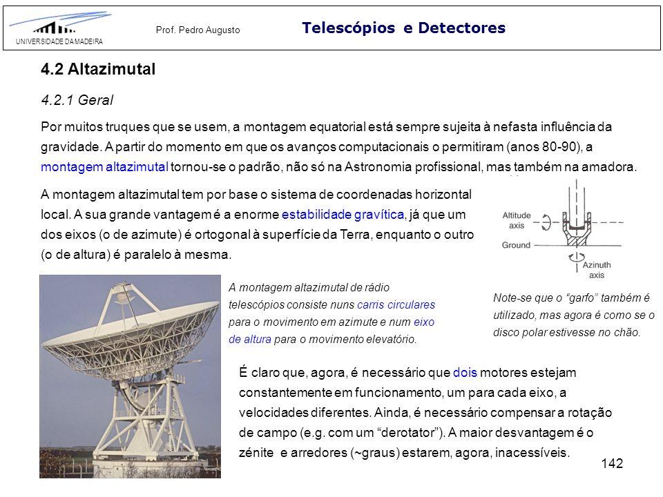 142 Telescópios e Detectores UNIVERSIDADE DA MADEIRA Prof. Pedro Augusto 4.2 Altazimutal Por muitos truques que se usem, a montagem equatorial está se