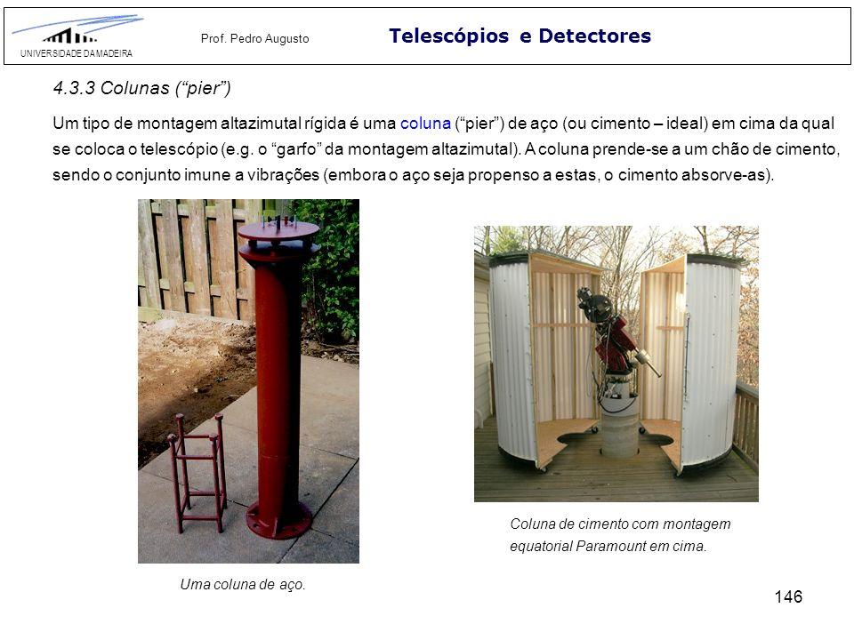 146 Telescópios e Detectores UNIVERSIDADE DA MADEIRA Prof. Pedro Augusto Um tipo de montagem altazimutal rígida é uma coluna (pier) de aço (ou cimento
