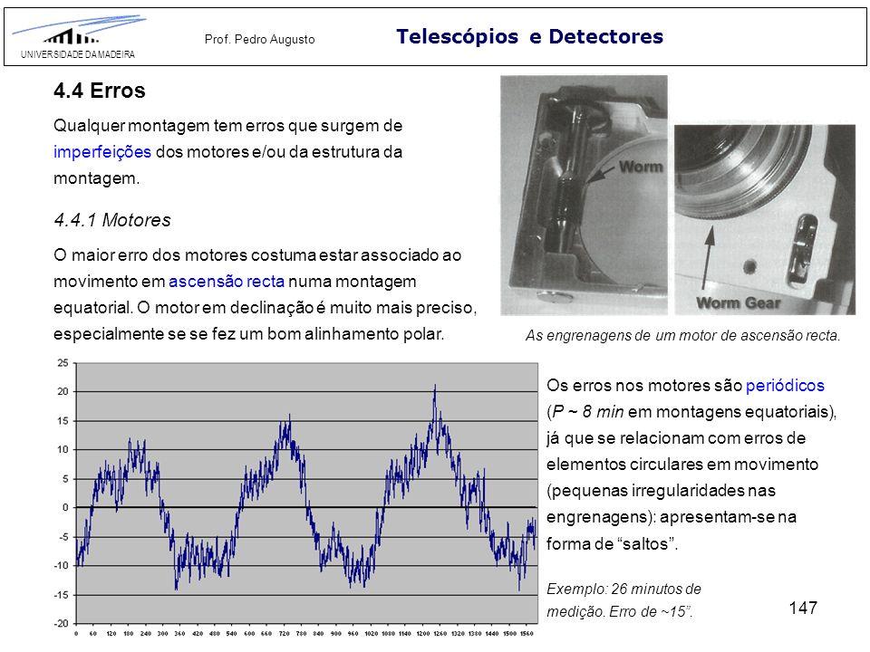147 Telescópios e Detectores UNIVERSIDADE DA MADEIRA Prof. Pedro Augusto 4.4 Erros Qualquer montagem tem erros que surgem de imperfeições dos motores