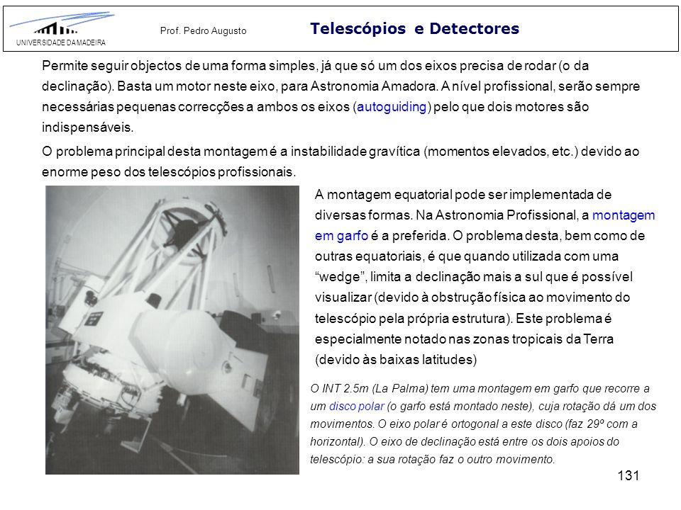131 Telescópios e Detectores UNIVERSIDADE DA MADEIRA Prof. Pedro Augusto Permite seguir objectos de uma forma simples, já que só um dos eixos precisa